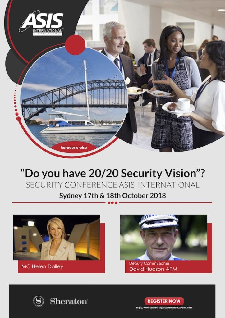flyer of Security Conference ASIS International Sydney 17th and 18th October 2018