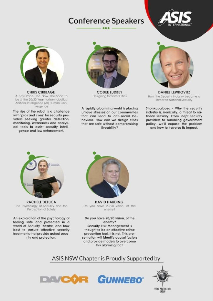Security Conference ASIS International Sydney 17th and 18th October 2018 list of speakers