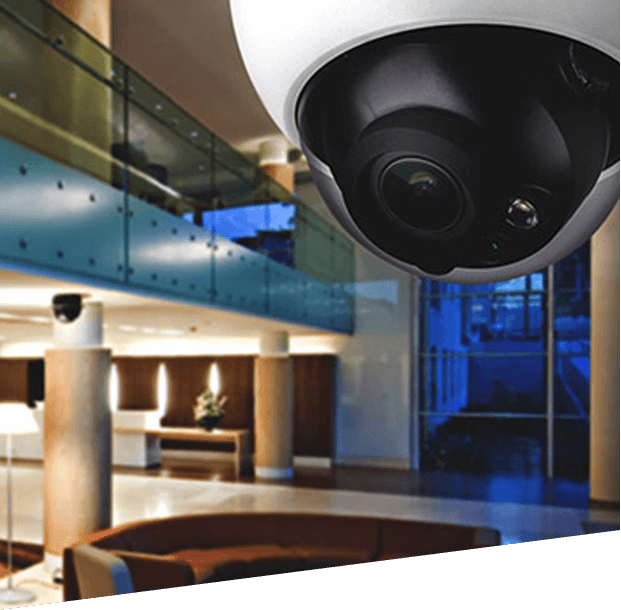 dome security camera in a building lobby