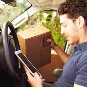 courier driver looking at Calamity Fearless app