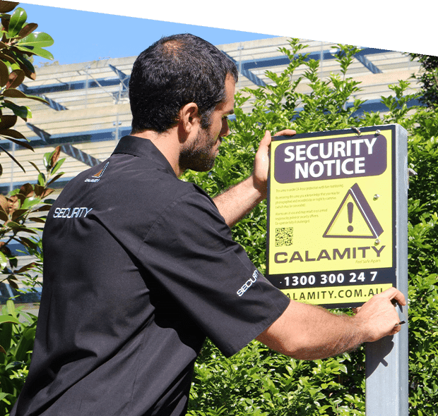 an employee installing a Calamity security notice