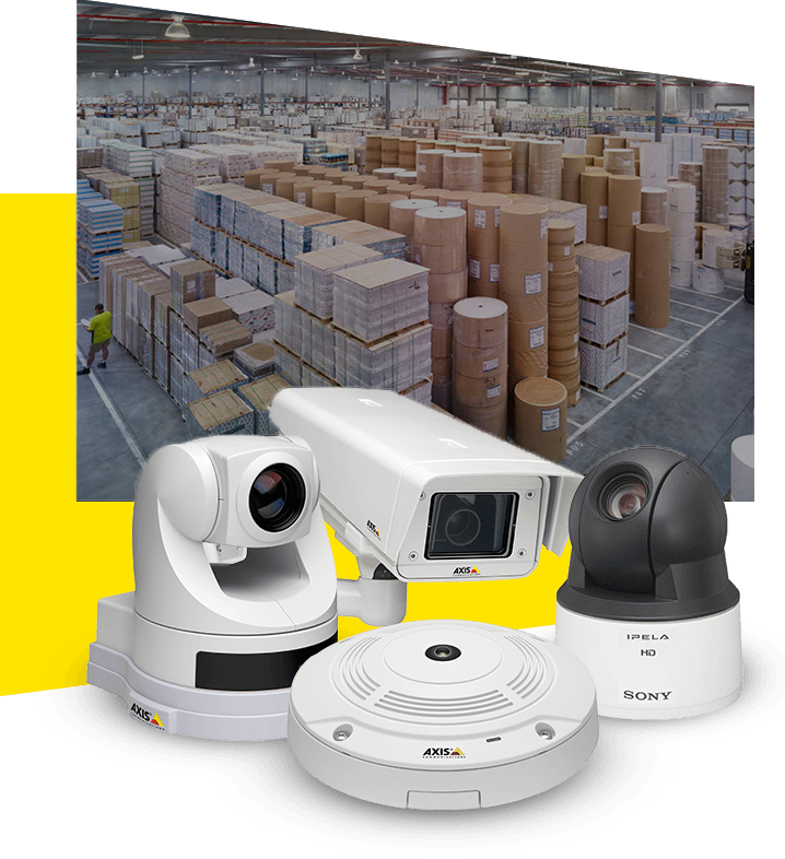 different types of security cameras and a warehouse in background
