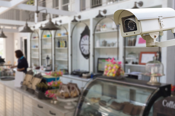 Security Camera operating in the coffee shop